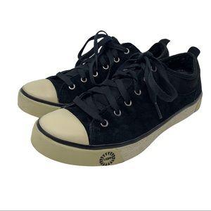 UGG Evera Black Suede Sneakers Cap Toe Size 7.5